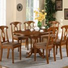 "Portna-7-PC Oval Dinette Dining Table set- 42""x60"" in Saddle Brown Finish. SKU: PN7-SBR"