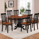 7-PC Easton Oval Dining Table and 6 wooden seat Chairs in Black & Brown SKU: Easton7-BLK