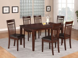 "6PC DINETTE DINING SET TABLE 36X60"" w/4 LEATHER SEAT CHAIRS & 1 BENCH IN MAHOGANY -SKU C6BEN-MAH-LC"