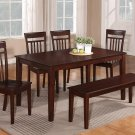 6PC DINETTE DINING SET TABLE 36X60&quot; w/4 WOOD SEAT CHAIRS & ONE BENCH IN MAHOGANY -SKU C6BEN-MAH-W