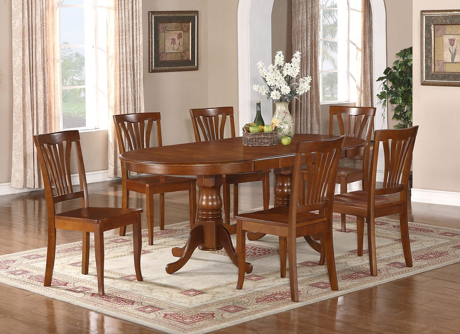 pc newton oval dining room set table 8 wood seat chairs in saddle
