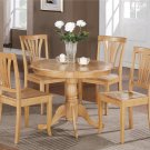 5-PC Bristol Round Table with 4 Wood Seat Chairs in Oak Finish. SKU#: BT5-OAK
