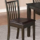 Set of 2 Capri dining chairs with faux leather seat in Cappuccino color. SKU#: EWCDC-CAP-LC