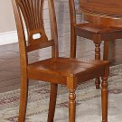 Set of 8 Plainville dining room chairs with wood seat in Saddle Brown finish.