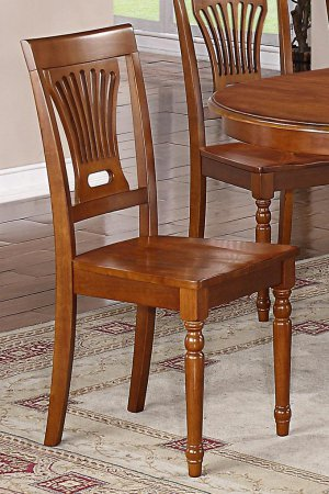 Set of 10 Plainville dining room chairs with wood seat in Saddle Brown finish.