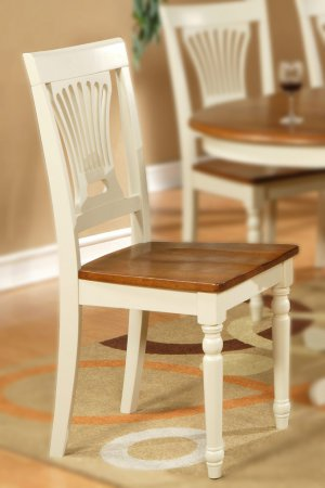 Set of 6 Plainville dining chairs with wood seat in Buttermilk and Saddle Brown finish