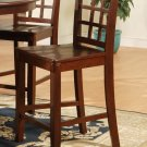 Set of 2  Elegant counter height chairs with wood seat in Mahogany finish.
