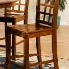 Set of 2  Elegant counter height chairs with wood seat in Medium Brown finish.
