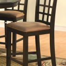 Set of 2  Elegant counter height chairs with microfiber upholstery seat in Cappuccino finish.