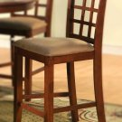 Set of 2  Elegant counter height chairs with microfiber upholstery seat in Brown finish.