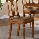 Set of 2 Napoleon style dining chairs with dark microfiber upholstered seat in Saddle Brown finish