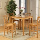 "3-PC Square Counter Height Table size 36""x36"" with 2 Wood Seat Chairs in Oak Finish."