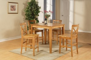 """3-PC Square Counter Height Table size 36""""x36"""" with 2 Wood Seat Chairs in Oak Finish."""