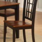 Set of 2 Nicoli dinette kitchen dining chairs with plain wood seat in 2 tone black and saddle brown