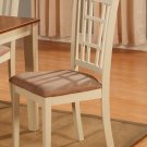 Set of 2 Nicoli kitchen dining chairs with dark upholstery seat in buttermilk and saddle brown