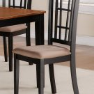 Set of 2 Nicoli kitchen dining chairs with dark upholstery seat in black and saddle brown