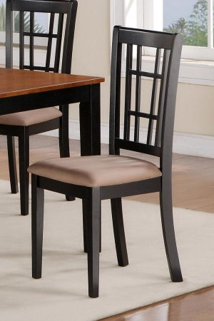 Set of 4 Nicoli kitchen dining chairs with dark upholstery seat in black and saddle brown