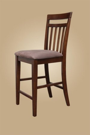 Set of 10 EW Bar Stool - Counter Height Chair with Microfiber Padded Seat in Dark Oak - Espresso