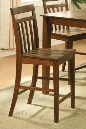 Set of 4 EW Bar Stool - Counter Height Chair with Wood Seat in Espresso - Dark Oak