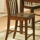 Set of 6 EW Bar Stool - Counter Height Chair with Wood Seat in Espresso - Dark Oak