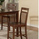 Set of 2 EW Bar Stools - Counter Height Chair with Wood Seat in Mahogany finish
