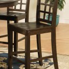 Set of 3 Elegant counter height chairs with wooden seat in Cappuccino finish.
