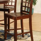 Set of 3 Elegant counter height chairs with wood seat in Mahogany finish.