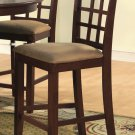 Set of 3 Elegant counter height chairs with microfiber upholstered seat in Mahogany finish.