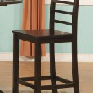 "Set of 3 Lily 27"" bar height chairs with wood seat in Cappuccino finish."