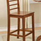 "Set of 3 Lily 27"" bar stools with wood seat in Brown finish."