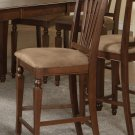 Set of 3 Chelsea counter height stools with microfiber upholstered seat in Mahogany finish.