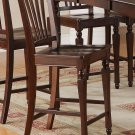 Set of 4 Chelsea counter height chairs with wooden seat in Mahogany finish.