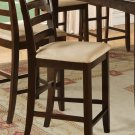 Set of 3 counter height chairs with microfiber upholstered seat in Cappuccino finish, seat 24&quot;