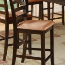 Set of 2 counter height chairs with white coffee microfiber upholstered in Cappuccino, seat 24""