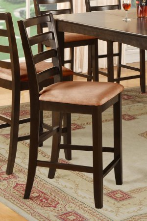 Set of 4 counter height chairs with white coffee microfiber upholstered in Cappuccino, seat 24&quot;