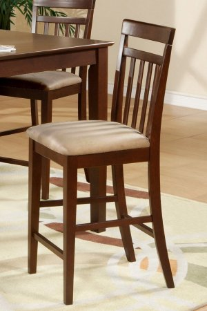 Set of 3 EW Counter Height Chair - Bar Stools with Microfiber Upholstered Seat in Mahogany finish