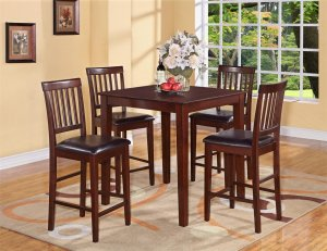 """5-PC Square Counter Height Table 36""""x36"""" with 4 Faux Leather Seat Chairs in Mahogany Finish"""