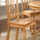 Set of 4 Antique dining chairs with wooded seat in Oak finish.
