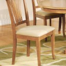 Set of 4 Avon dining chairs w/ microfiber upholstery seat in oak