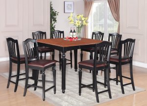 7-PC Chelsea Gathering Counter Height Table with 6 Chairs in Black & Brown, SKU#: CH7-BLK-LC