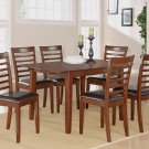 "Milan-7-PC Rectangular Dinette Dining Table Set-36""x 54"" with 12""extension leaf.  SKU: M7-MAH-LC"