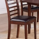 Set of 2 Milan Ladder slat back dining chairs with FAUX LEATHER upholstered seat in Mahogany finish.