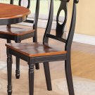 Set of 2 Kenley dinette dining chairs with plain wood seat in BLACK and saddle brown finish.