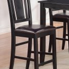Set of 4 counter height chairs with FAUX LEATHER in BLACK, seat 24""