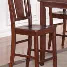 Set of 4 counter height chairs with WOOD SEAT in MAHOGANY, seat 24""