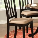 Set of 2 Antique dining room chairs with microfiber upholstered seat in Black finish.