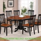 "Oval Dinette Kitchen Dining Table Only 42""X60""X30"" in Black & Saddle Brown. SKU: AV-BLK-TB"