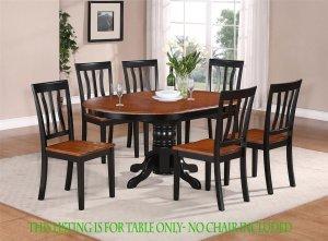 "Oval Dinette Kitchen Dining Table Only 42�X60�X30"" in Black & Saddle Brown. SKU: AV-BLK-TB"