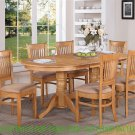 Vancouver Double Pedestal Dining Table L76&quot;xW40&quot; in Oak, Without Chair, SKU: VT-OAK-T+B