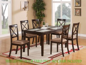 DINETTE KITCHEN DINING TABLE w/ TEMPERED GLASS IN CAPPUCCINO, NO CHAIR INCLUDED, SKU: EWCDT-CAP-G